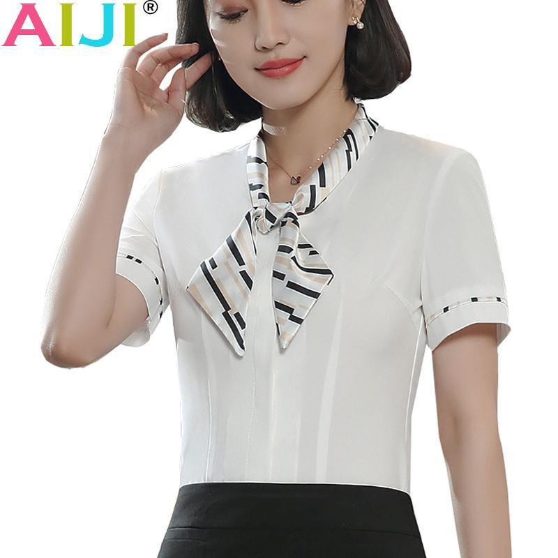 a689bb8b68 Compre Verão Elegante Arco De Manga Curta Mulheres Camisa Branca Moda  Formal Magro Chiffon Blusa Escritório Senhoras Desgaste Do Trabalho Plus  Size Tops De ...