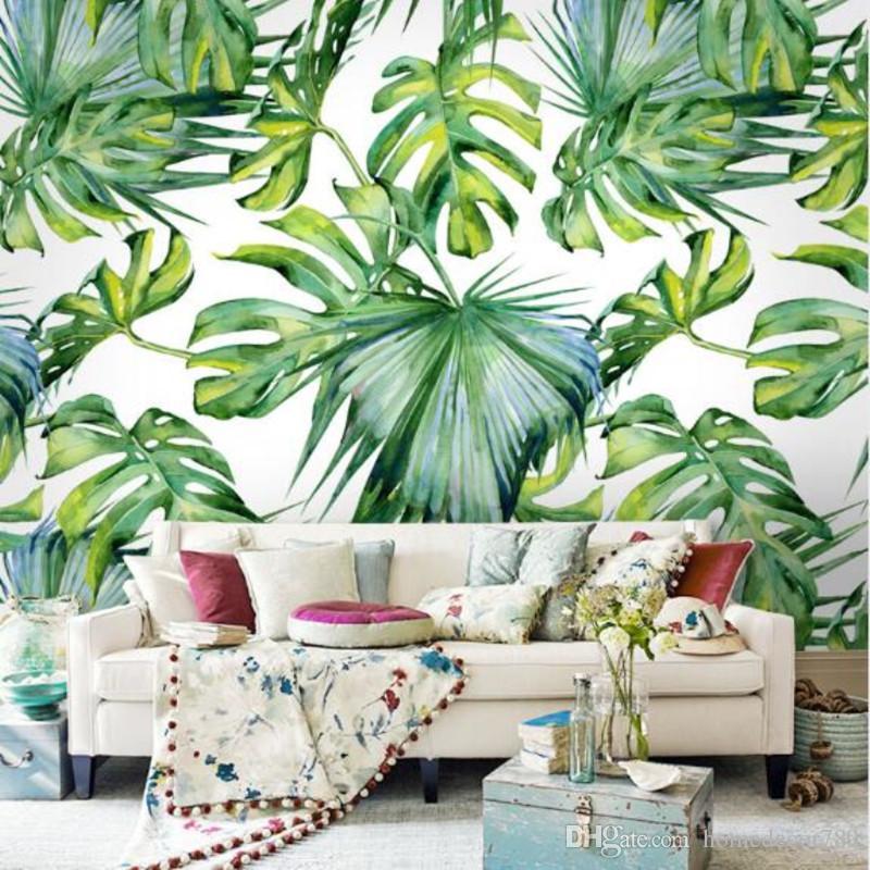 Acheter Relief Lumière Feuille Verte Papier Peint Pour Salon Chambre Murale Papier Peint Papiers ...