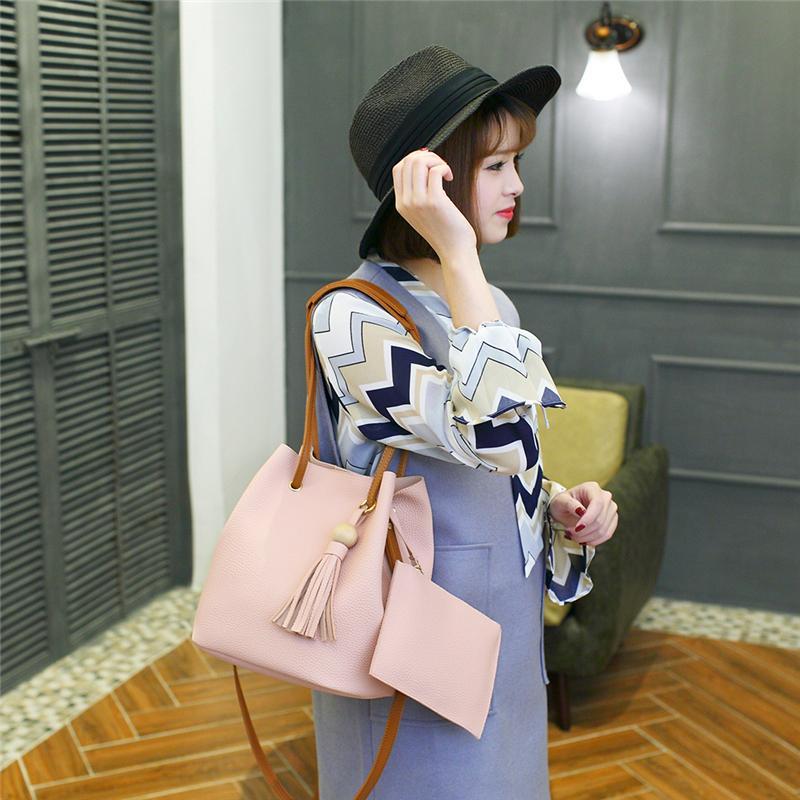 279f559935a FangNymph Pink Girls Bucket Bags Sweet Fashion Design Women Tassel Handbag  Purse Female Leather Shoulder Crossbody Bag Man Bags Crossbody Purses From  ...