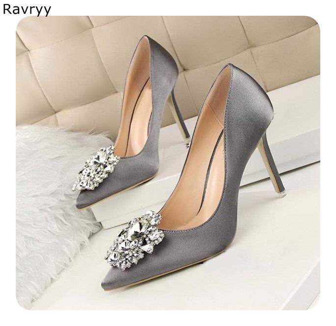 a9e3a2ec Compre Zapatos Grises De Tacón Alto De Bling Bling Bling De Mujer De Mujer  Atractiva Dedo Del Pie Puntiagudo Solo Zapato Delgado Talón Slip On Boda  Zapatos ...