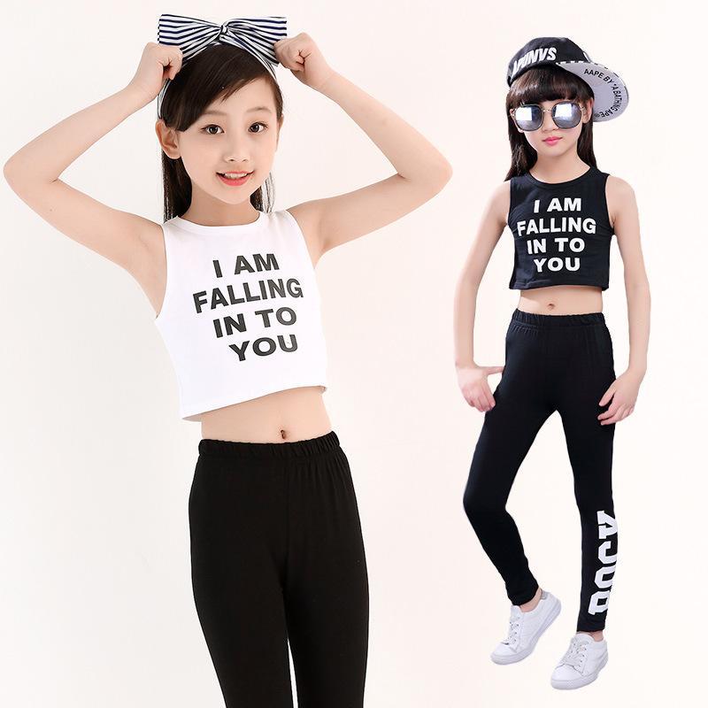 534de1d21c3de2 2019 3 18T Fashion Girls Summer Clothes White Black Cotton Crop Top And  Shorts  Legging Suit Girl Outfit Kids Hip Hop Dance Clothes From Fkansis