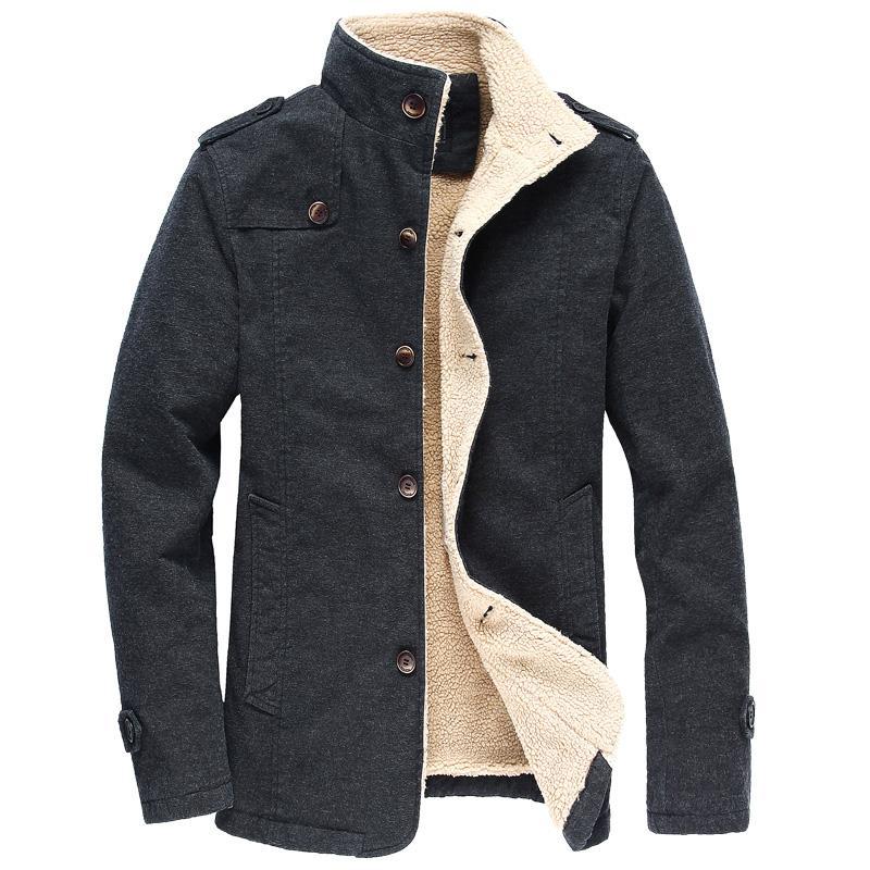 Neue Produkte 7facb 9ac38 Winter Warme Baumwolle Bomberjacke Männer Wolle Outwear Mantel Casual  Stehkragen Herren Jacke Fleece Parka Mantel Plus Größe 6XL