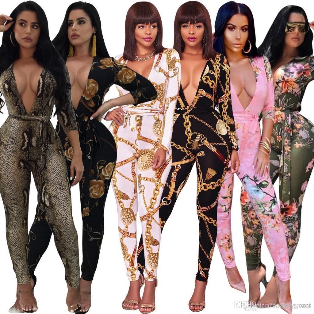 a2c154512c 2018 Fashion Women One Piece Printed Outfits Jumpsuits Long Sleeve ...