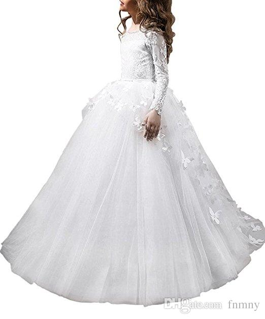 2018 Pure White Lace Long Sleeves Ball Gown Flower Girls Dresses Full Butterfly Kids Pageant Gowns Little Girl Birthday Party Dresses
