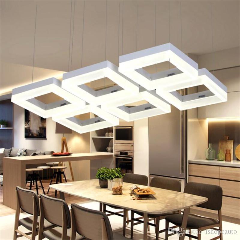 LED Dining Pendant Lamp Aluminum Acrylic Restaurant Lamp Modern Minimalist Square 3/4/6/9/12 Heads Hanging Line Chandelier