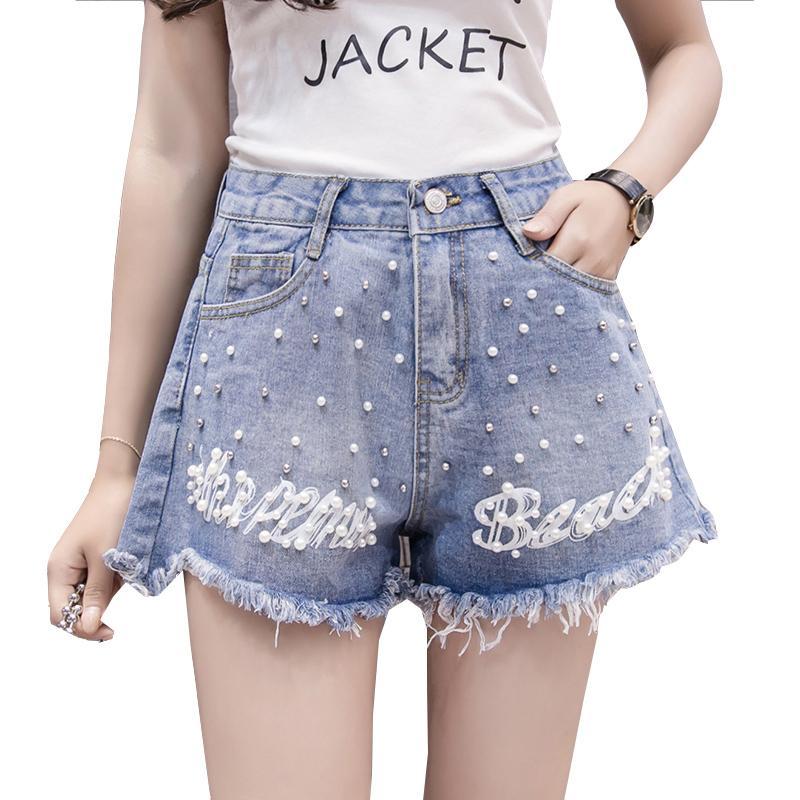 0f6077a03 Compre Pantalones Cortos De Mezclilla Para Mujer 2018 Summer Beads Ladies  Loose Hot Jeans Shorts De Pierna Ancha Cintura Alta Vintage Azul Casual  Corto ...