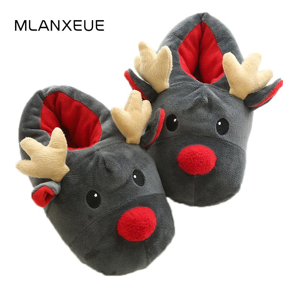 35ffb5eb4e4 Christmas Cartoon Deer Slippers Soft Plush Women Home Slippers Christmas Cartoon  Animal Lady Slippers Shoes Women Cute Slipper Moccasins For Women Loafers  ...