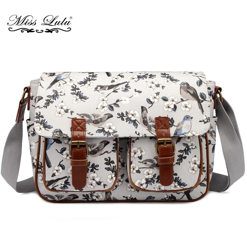 Miss Lulu Brand Women Messenger Bags Cross Body Bags For Teenagers Girls  Flower Bird Large School Shoulder Satchel L1107 Backpack Purse Leather Tote  From ... 22e3fcac99266