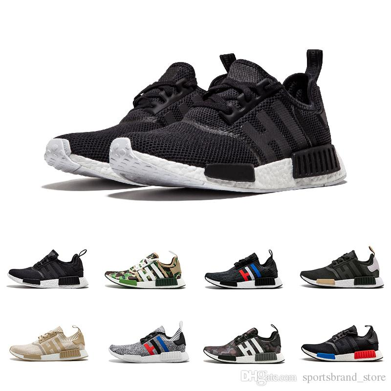 best sneakers fe6cc 7d8b5 Compre Adidas NMD Boost R1 2018 R1 Beige Negro Camo Verde Triple Negro  Blanco Hombres Arena Mujeres Zapatillas Rojas Runner Men Trainers Sports  Sneakers ...