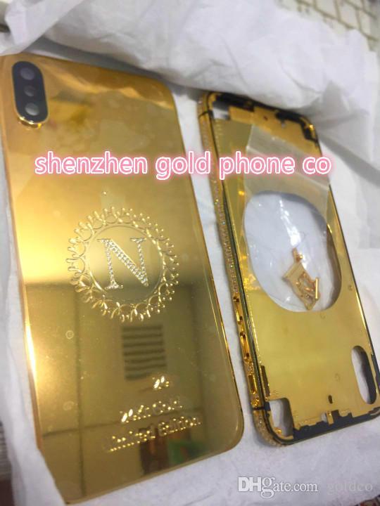 Batteriedeckel Echtgold 24 Karat Gold Zurück Gehäuse Für iPhone X Style Batteriedeckel Hintere Abdeckung aus Metall mit Logo
