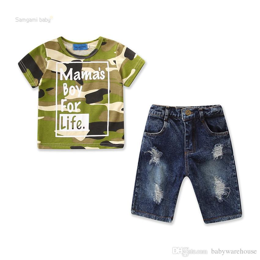84f81651ead 2019 Baby Boy Clothes Sets Summer Kids Clothing For Boys Cotton Camouflage  T Shirt Tops Jeans Pants Toddler Boy Outfits Cool Boys Clothing From ...