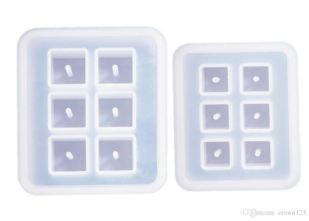 Cubic Design Silicone Bead Molds with Holes Resin Epoxy Mold for Jewelry, Polymer Clay, Soap Making, Cabochon Gemstone DIY Crafting