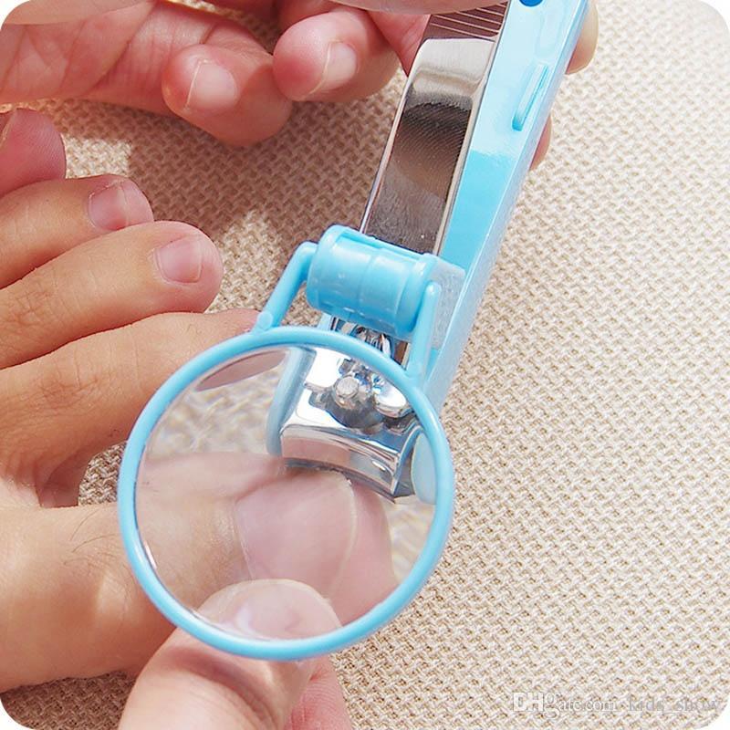 Yaratıcı Bebek Cep Ayak Tırnak Makası Kesici ile Büyüteç Giyotin Manikür Pedikür Bakım Makas Araçları
