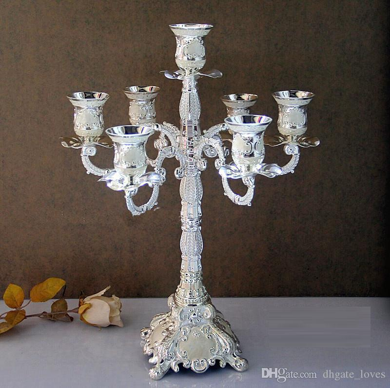 7 branch antique silver plated large decorative lanterns, tall candle  holders for wedding centerpieces candlestick GBN-756