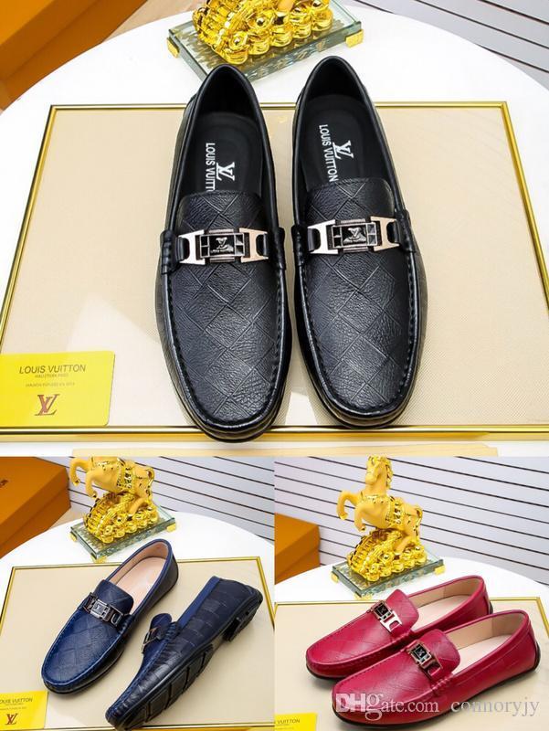 93dc6dd018ed 18ss Mode Leder Herren Schuhe Elegante Qualit Luxus Designer Turnschuhe  Leder Herren Kleid Schuhe Für Männer Größe 38-45