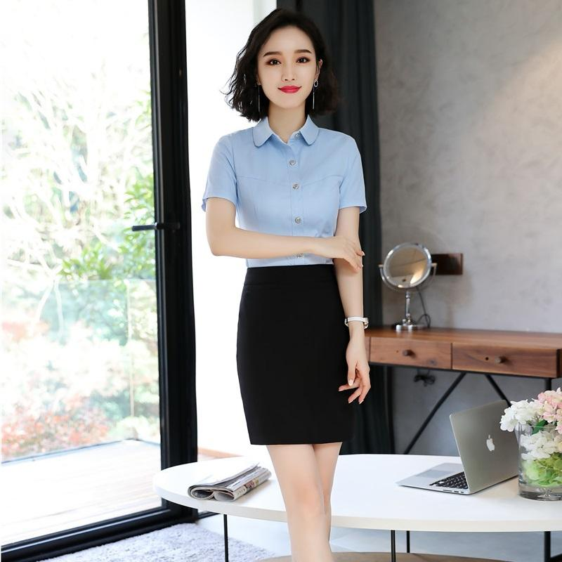 a1ec8fda17c3 2019 Summer Uniform Designs Work Wear Suits With Tops And Skirt For Women  Professional Female Blouses   Shirts Sets From Sincha