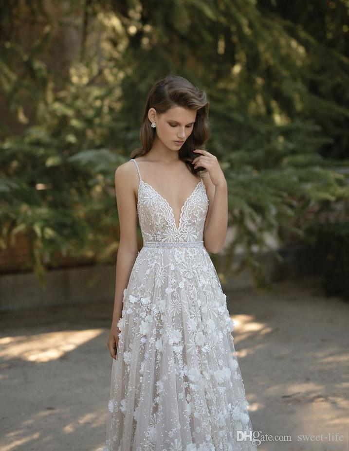 Berta 2018 Wedding Dresses Spaghetti Neck Beads 3D-Floral Appliques Lace Backless Bridal Gowns Crystal Sweep Train Real Image Bride Dresses