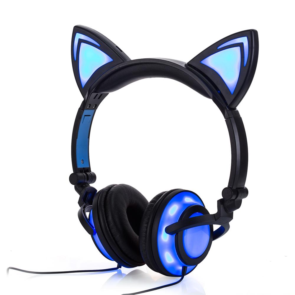 a0bfc38af62 New Version Flash Glowing Cat Ear Headphones LED Foldable Earphone Headset  For Adult And Children For PC Mobile Cell Phone Headset Stereo Bluetooth  From ...