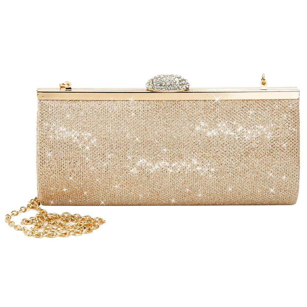 Fashion Women Evening Party Bags Bling Gold