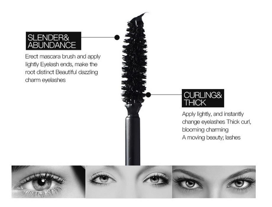 2 en 1 rimel de fibra 3D ojo negro rizador de pestañas doble rimel a prueba de agua completo Express Mascaras herramienta de maquillaje