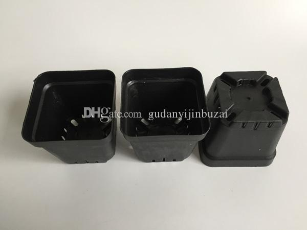 D7XH6.8CM مصغرة أواني الحضانة الأسود المزارعون البلاستيك الأسود مربع العصارة الأواني الزهور الصغيرة المزارعون SF-135