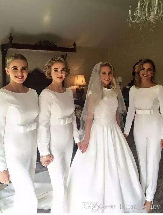 2019 белые брюки комбинезон платья для подружек невесты брючные костюмы шеи Bateau с длинным рукавом наряд вечерние платья с бантом пояс платье свадебное платье для гостей
