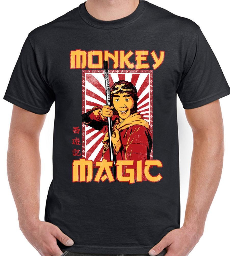 Mens Retro Monkey Magic T-shirt Chinese Fantasy Tv Show 70s 80s Martial Arts Moderate Cost T-shirts