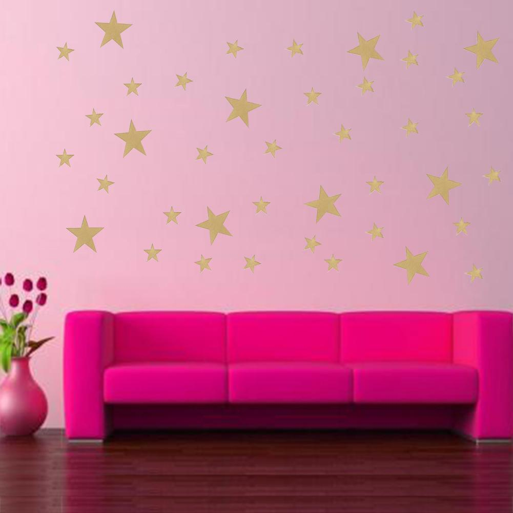 Wall Stickers DIY Gold Removable Star Sticker Five-pointed Star Wall Decor Plane Wall Postor Cartoon Home Decoration