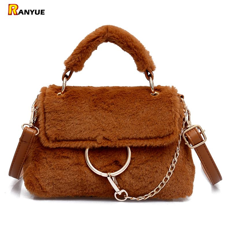 6c46f030caaa Faux Fur Bag Luxury Handbags Women Bags Designer Tote Shoulder ...