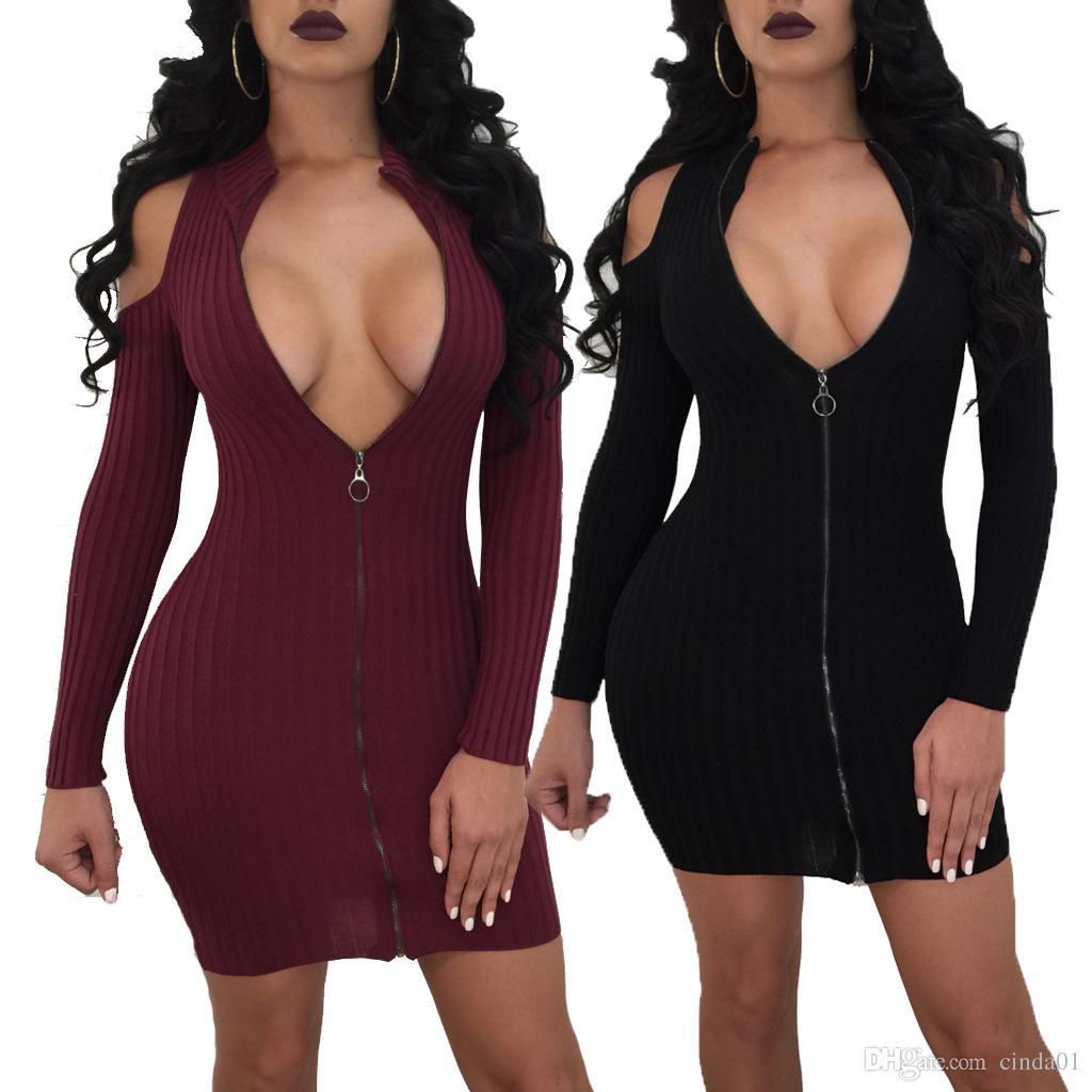 3492d9c8a14 Big Yard Fashion Women Mini Dress High Neck Zipper Design Black Red Sexy  Sheath Curve Dresses Clothing Plus Size Evening Dresses Plus Size Dress  From ...