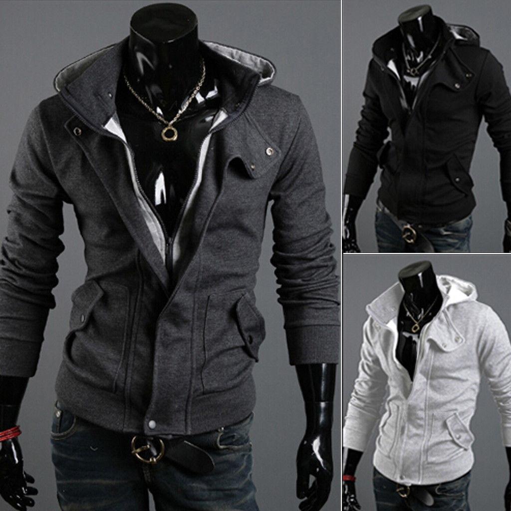 52e81a8a3c2 2018 Fashion Patchwork Jacket Spring Autumn Plus Size Wrap Coat Men Winter  Warm Hooded Sweatshirt Coat Jacket Outwear Sweater Bomber Leather Jacket  Jacket ...