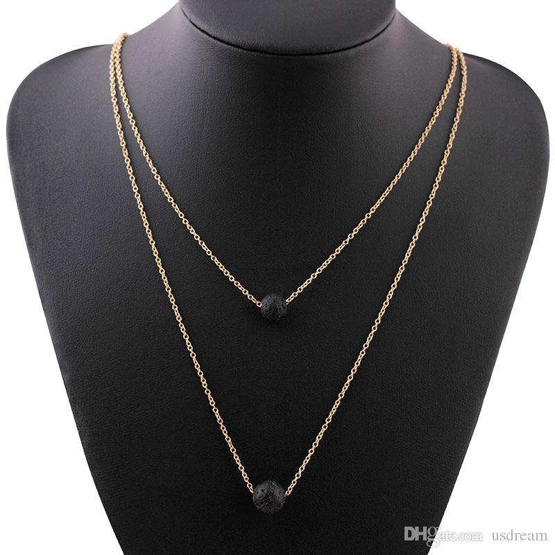 Многослойное черное лавовое каменное ожерелье из лавы-рока эфирное масло диффузор для ожерелье подвески Chokers женщин мода ювелирные изделия падение корабля 162642