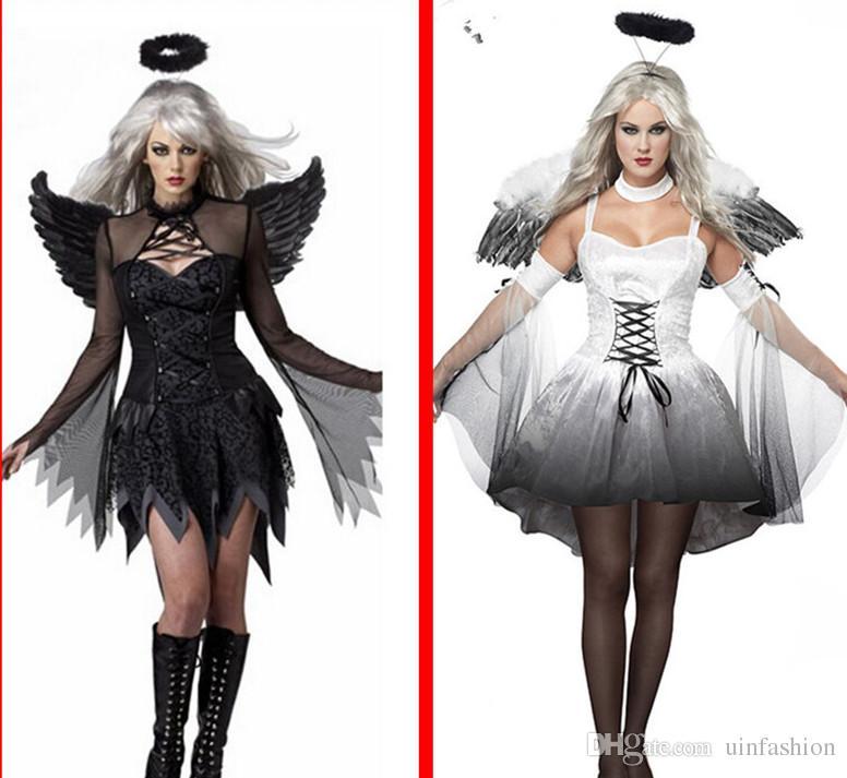 bde28b7b2ce2 Großhandel Weiß Schwarz Teufel Gefallenen Engel Kostüm Frauen Sexy  Halloween Party Kleidung Erwachsene Kostüme Kostüm Kopf Tragen Flügel Von  Uinfashion, ...
