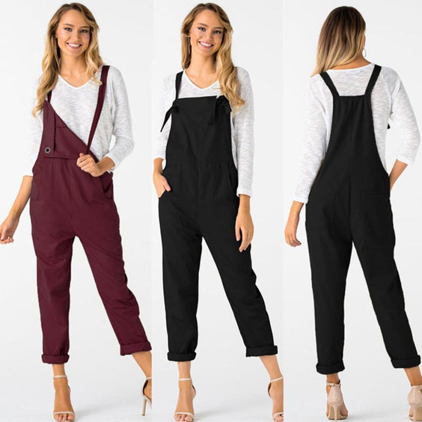 371c3b124b34 2018 Summer Womens Romper Loose Dungarees Loose Long Pockets Rompers ...