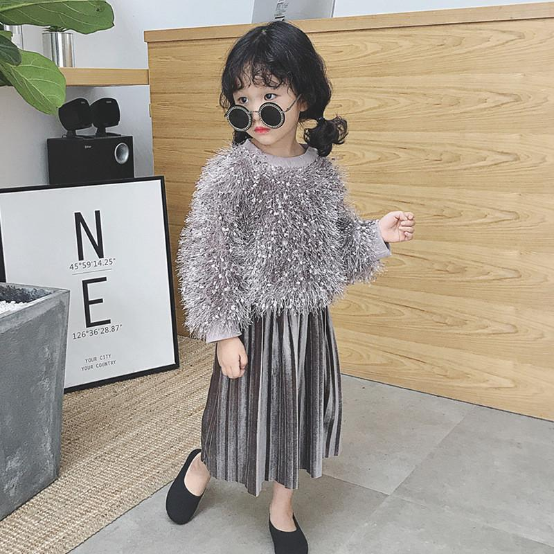 b2842bbdd3c 2019 Kids Girls Clothes Set Long Sleeve Fashion Sweater   Pleated Skirt  Elegant Girl s Winter Outfits Children Clohing Suit 3219
