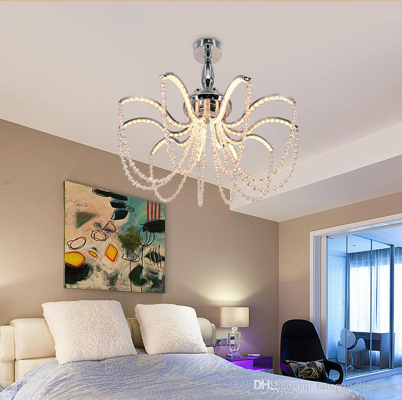 Elegant Modern Aluminium LED crystal chandelier High quality K9 crystal Pendant lamp Hanging light fixture for dinning living room bedroom