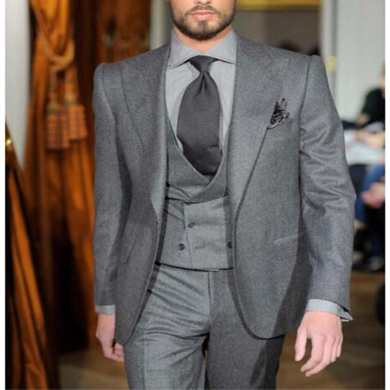 9f5b156788d 2019 The Latest Coat + Pants Design Gray Men's West Slim Three Piece Tuxedo  Custom Groom Suit Jacket + Vest Pants 573 From Viviant