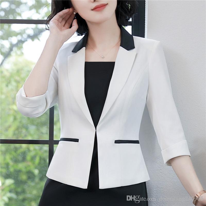 0d7be6fa415d9 2019 Fashion Elegant Summer Slim Work Wear Women Formal Half Sleeve Blazers  Coats Female Office Plus Size Jacket From Donnatang240965, $17.25 |  DHgate.Com