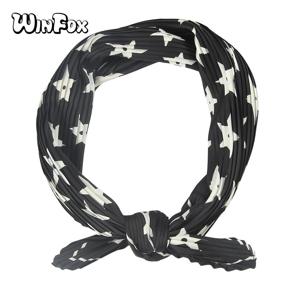 e9b0e83e Winfox 50 * 90 cm patrón de estrella de diamante arruga la cinta negra  pequeña cabeza pañuelo bufanda del abrigo del abrigo bufandas de seda ...