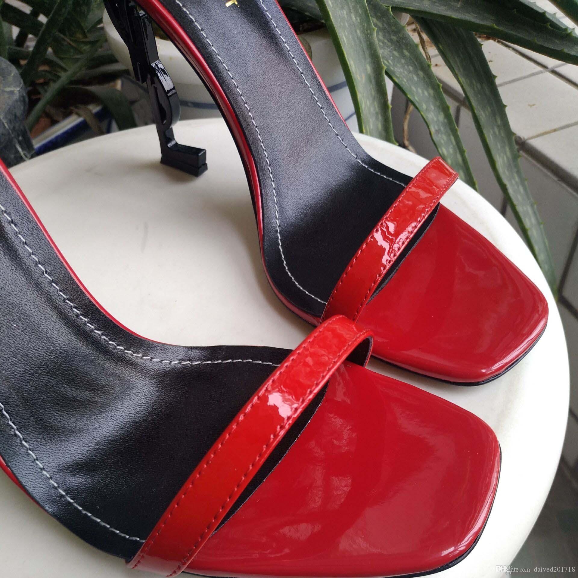 O novo estilo europeu de luxo clássico sandálias de salto alto senhora sapatos paris supermodelo passarela sola de borracha fivela