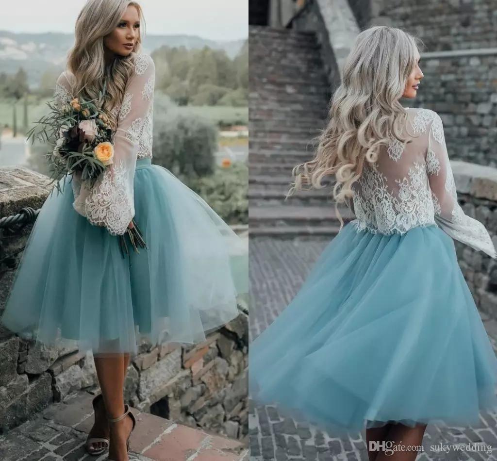 f38a770d3f6 Compre Dusty Blue Vestidos De Fiesta De Dos Piezas Con Falda De Tul Manga  Larga Top De Encaje Blanco Vestidos De Baile Vestido Largo De Fiesta Vestido  De ...