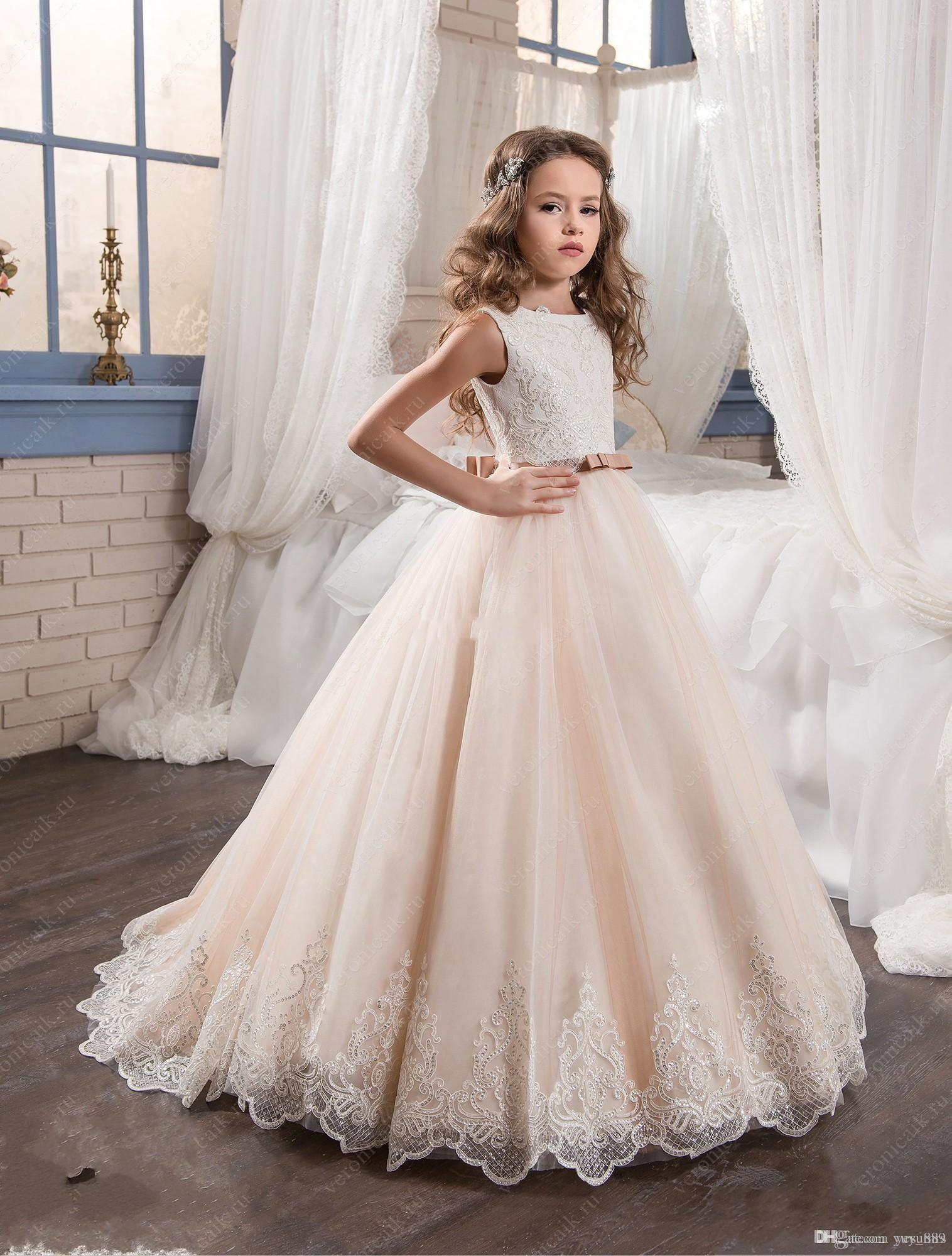 Flower Girl Dresses for Wedding Blush Pink Princess Tutu Sequined Appliqued Lace Bow 2017 Vintage Child First Communion Dress
