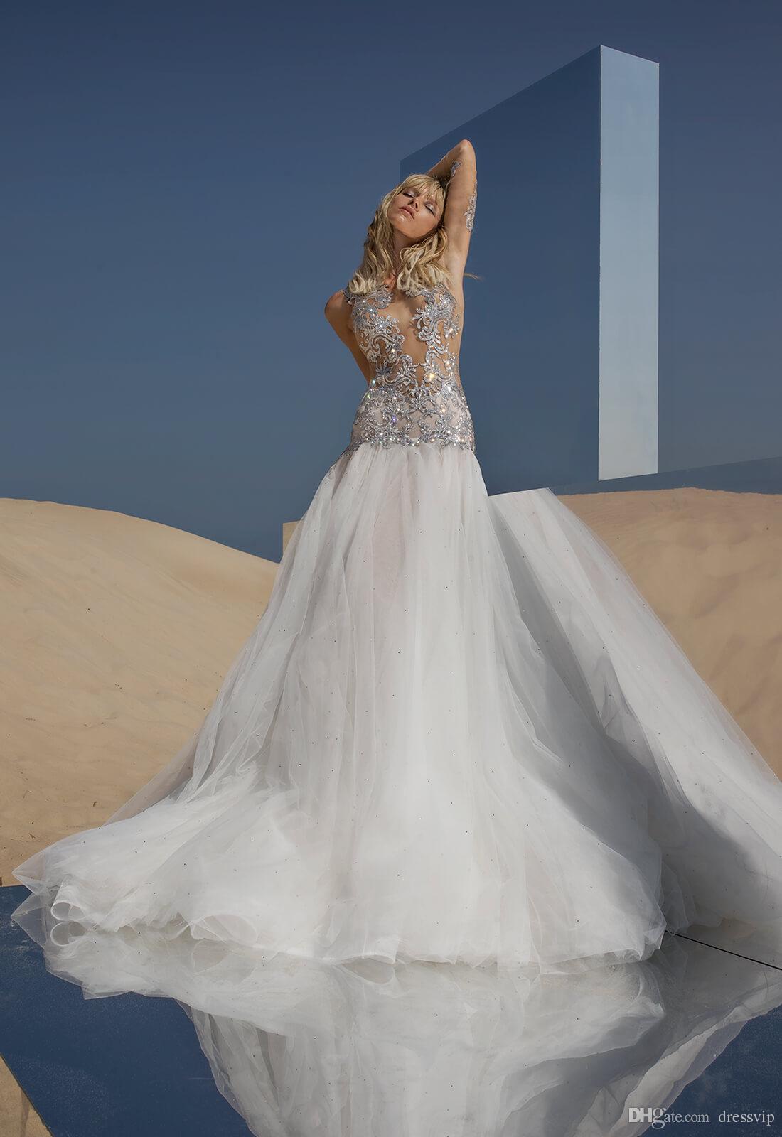 2018 Pnina Tornai Mermaid Wedding Dresses Illusion Tulle Bling Beaded Sequin Sweep Train Long Sleeve Bridal Dress Backless Boho Wedding Gown