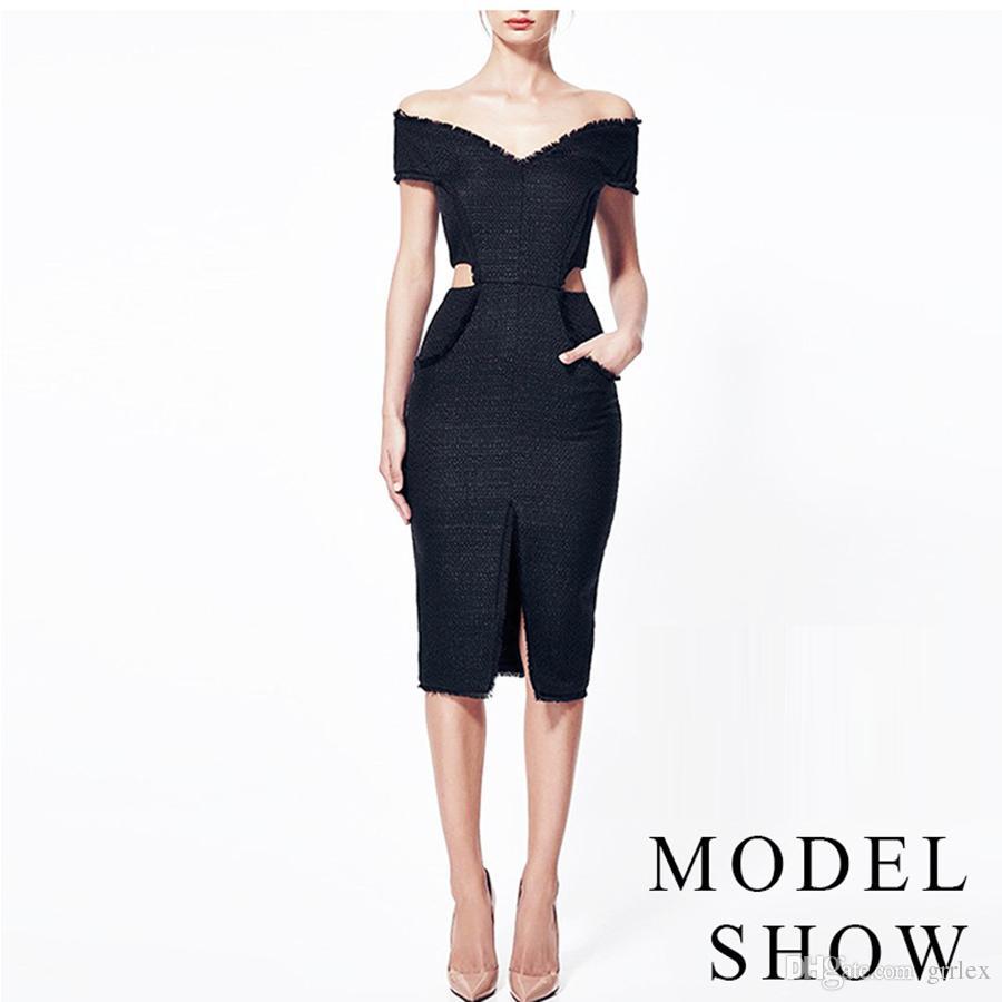 f2d9c70941411 Satın Al Moda Forking Hollow Out Bandaj Bodycon Abiye Yüksek Kalite Kadın  Giyim Sıcak Seksi Siyah Slash Boyun Parti Kulübü Elbiseler, $114.06 |  Dhgate.