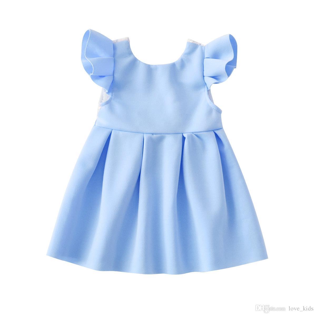 Bebé encaje mariposa sin espalda princesa falda con gran arco fiesta de los niños vestido de fiesta infantil niño bebé niña vestido de verano ropa de color azul rosa