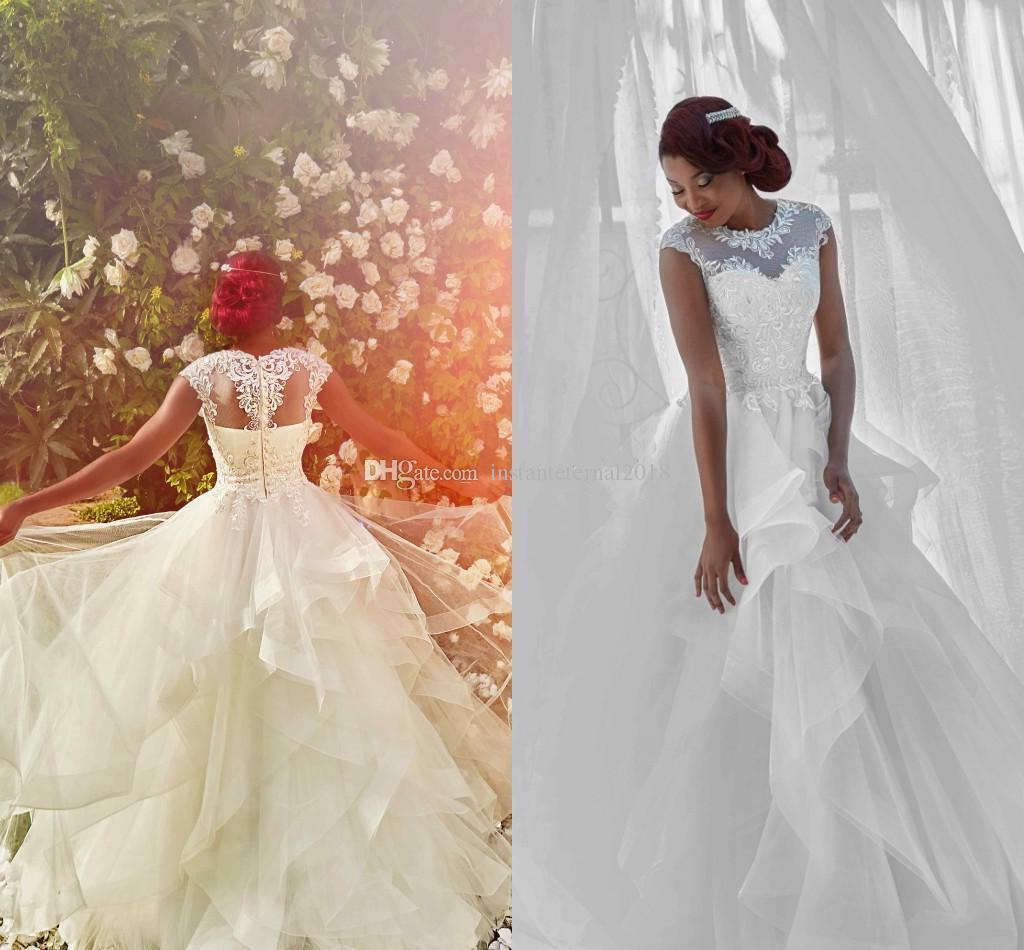 Discount African Ball Gown Wedding Dresses Sheer Neck Cap Sleeves Appliques Ruffled Tulle Black Bride Gowns Nigeria Bridal Elegant: Black Ruffled Wedding Dresses At Websimilar.org