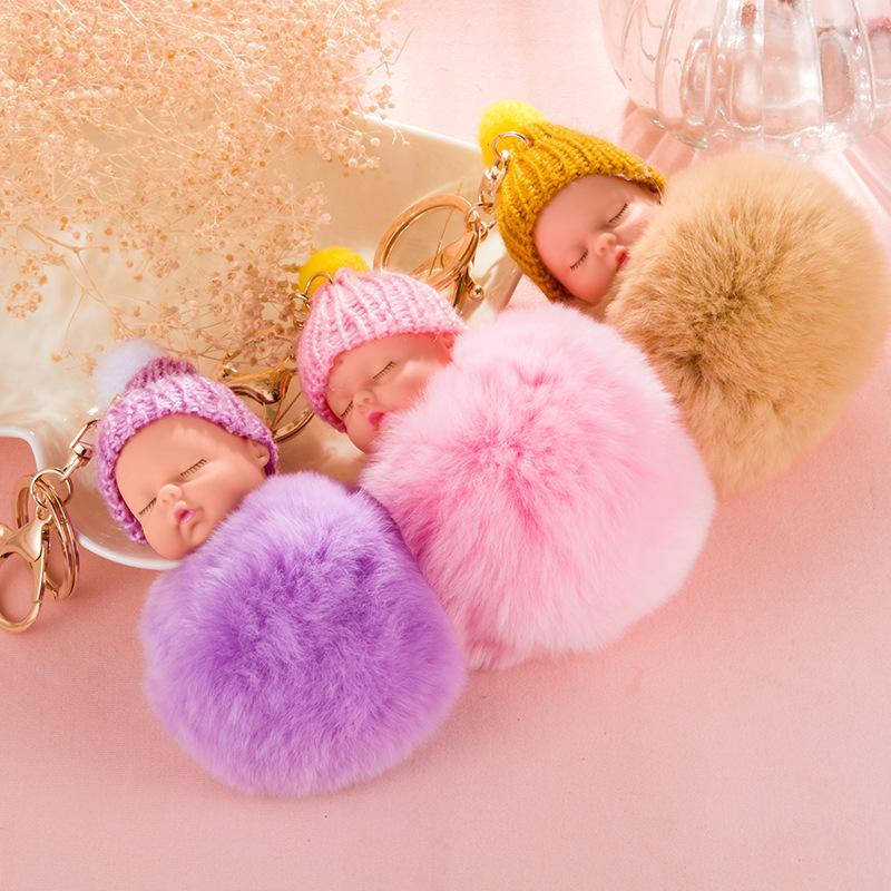 Cute Fluffy Pompom Sleeping Baby Key Chain Faux Rabbit Fur Pom Pon Knitted  Hat Baby Doll Keychain Car Keyring Toy New Year Gifts Cute Keychains  Leather Key ... 3642ae81bbb6