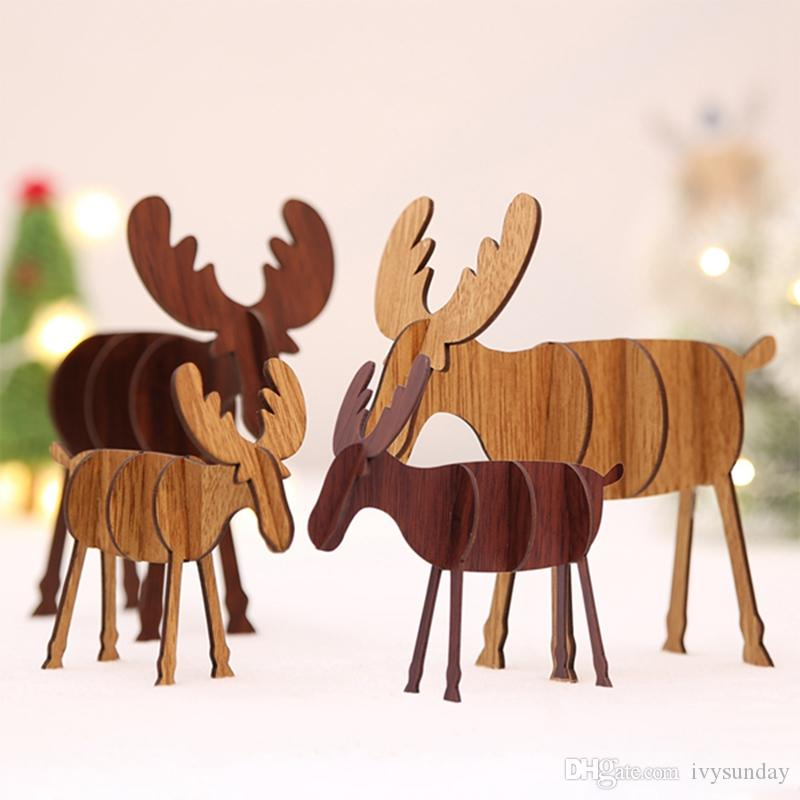 2019 Diy Wooden Elk Ornaments Christmas Decoration Deer Figurines