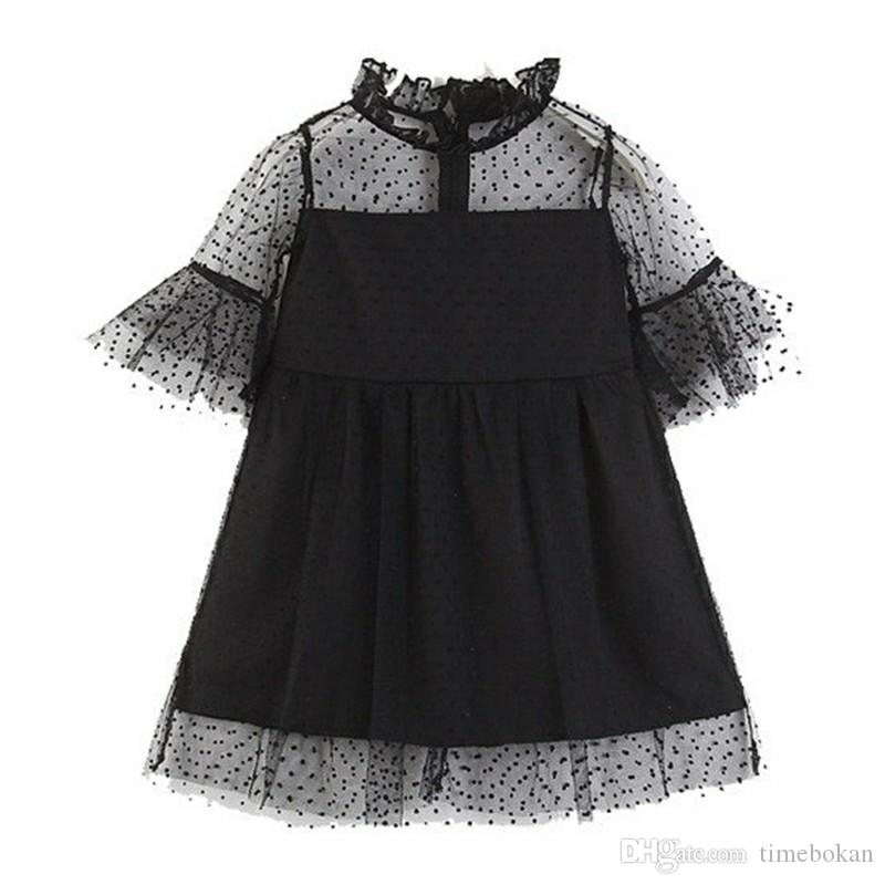 b8ab66f0e Baby Girl Dress Girls Fashion Black Lace Princess Dresses 2018 ...
