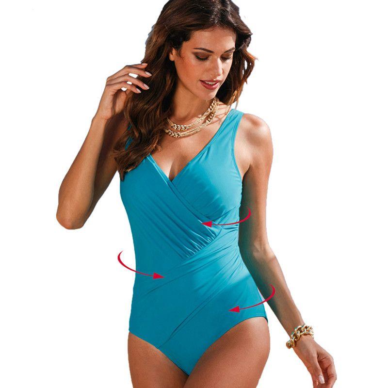dc1e4f61f8e 2018 New One Piece Swimsuit Women Plus Size Swimwear Retro Vintage Bathing  Suits Beachwear Print Swim Wear Monokini 4XL Swimwear Swimsuit Bathing Suits  ...